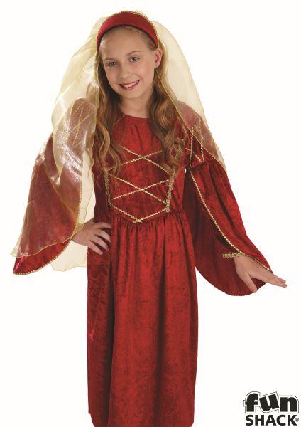SALE Kids Medieval Red Tudor Princess Girls Book Week Fancy Dress Childs Costume Thumbnail 1