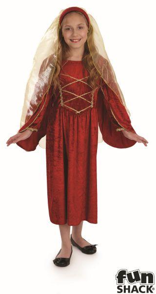 SALE Kids Medieval Red Tudor Princess Girls Book Week Fancy Dress Childs Costume Thumbnail 2