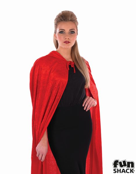 Red Velour Hooded Cape Thumbnail 2