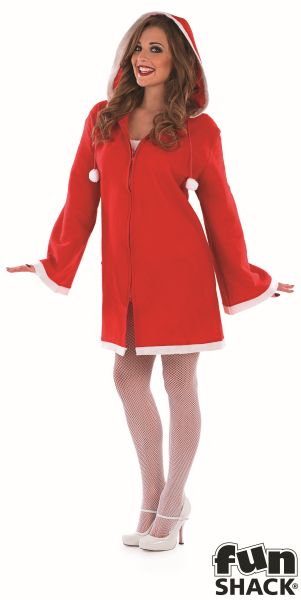 Sexy Little Miss Santa Ladies Christmas Party Fancy Dress Costume Outfit Thumbnail 2