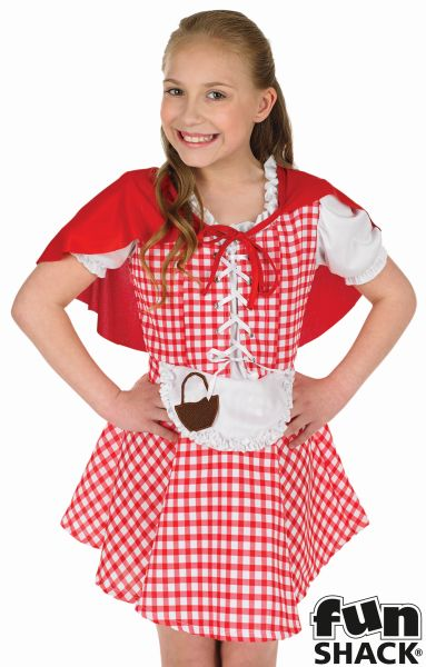 Kids Little Red Riding Hood Girls Book Week Fancy Dress Childs Costume Outfit Thumbnail 1