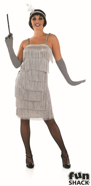 Women's Roarin 20's Silver Fancy Dress Costume  Thumbnail 2