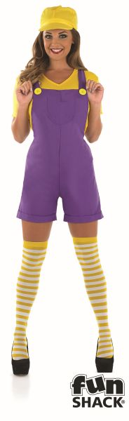 Sexy Yellow Plumbers Mate Ladies Fancy Dress Costume Hen Party Outfit Size 8-22 Thumbnail 2