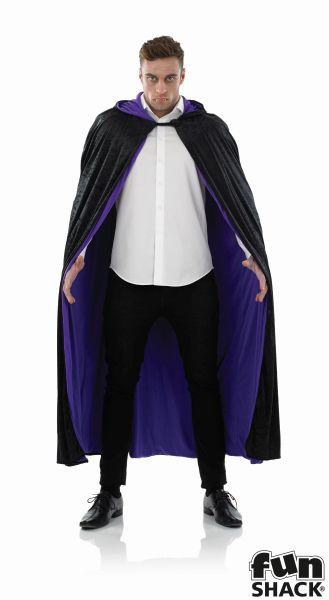 Long Hooded Purple Velour Cape  Thumbnail 3