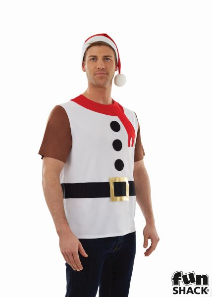 Snowman T-Shirt Men's Fancy Dress Costume Thumbnail 1