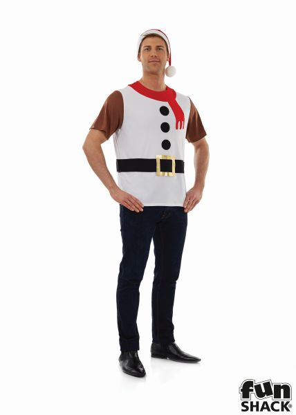 Snowman T-Shirt Men's Fancy Dress Costume Thumbnail 2