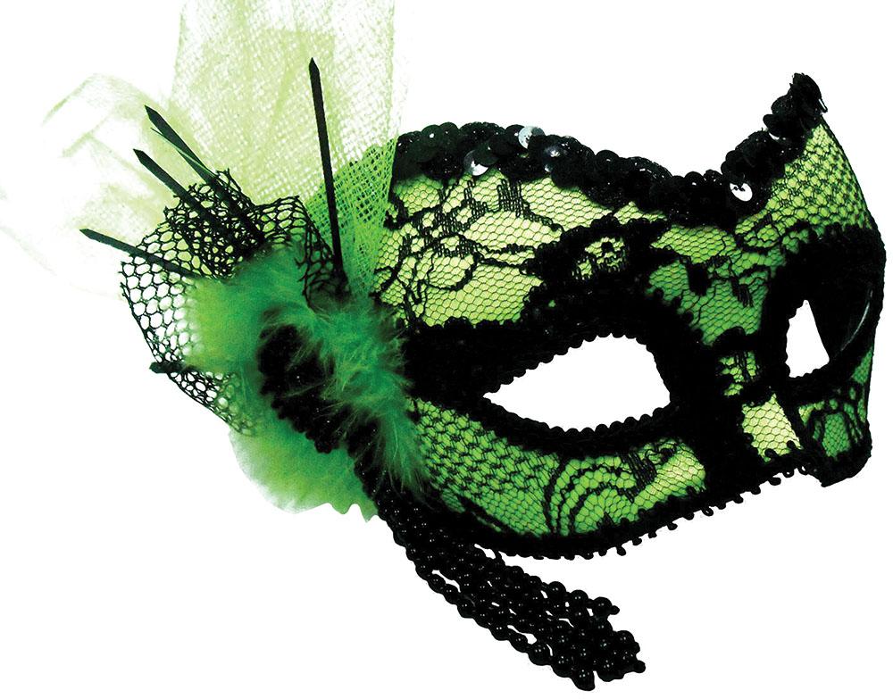 Green Mask + Black Lace Decoration