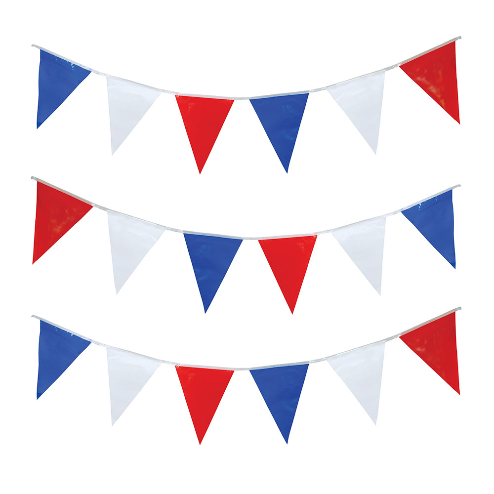 Bunting 7m Red/White/Blue Triangles x 25