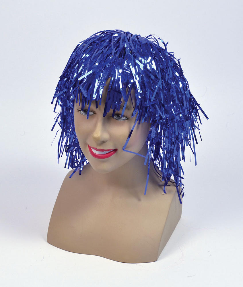 Tinsel Wig.  Blue