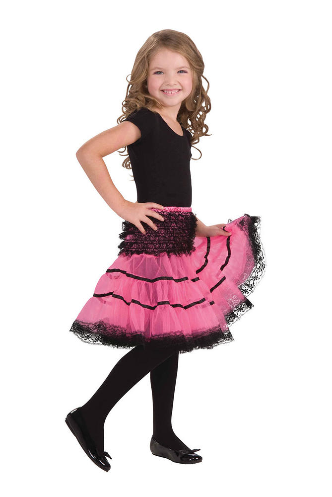 Childs Crinoline Slip. Pink and Black