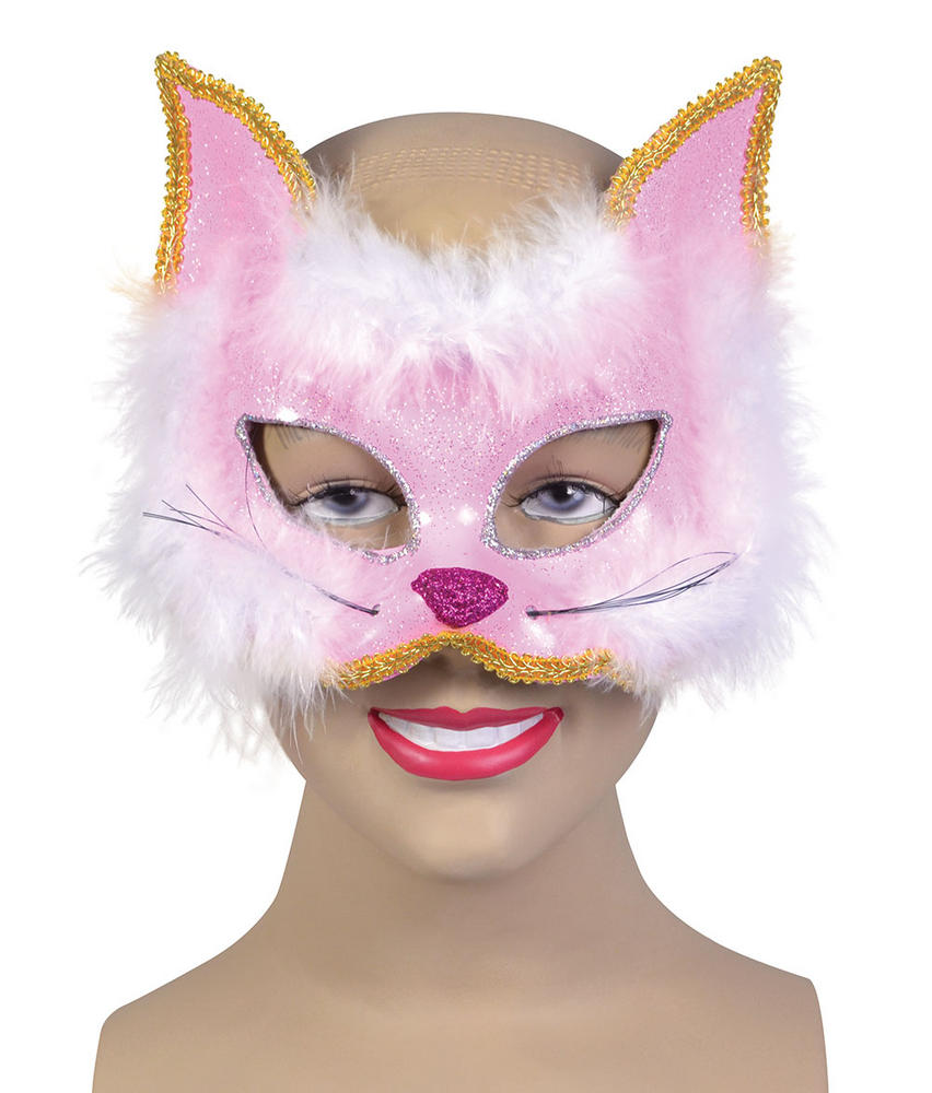 Glitter Cat Mask Pink on Hband