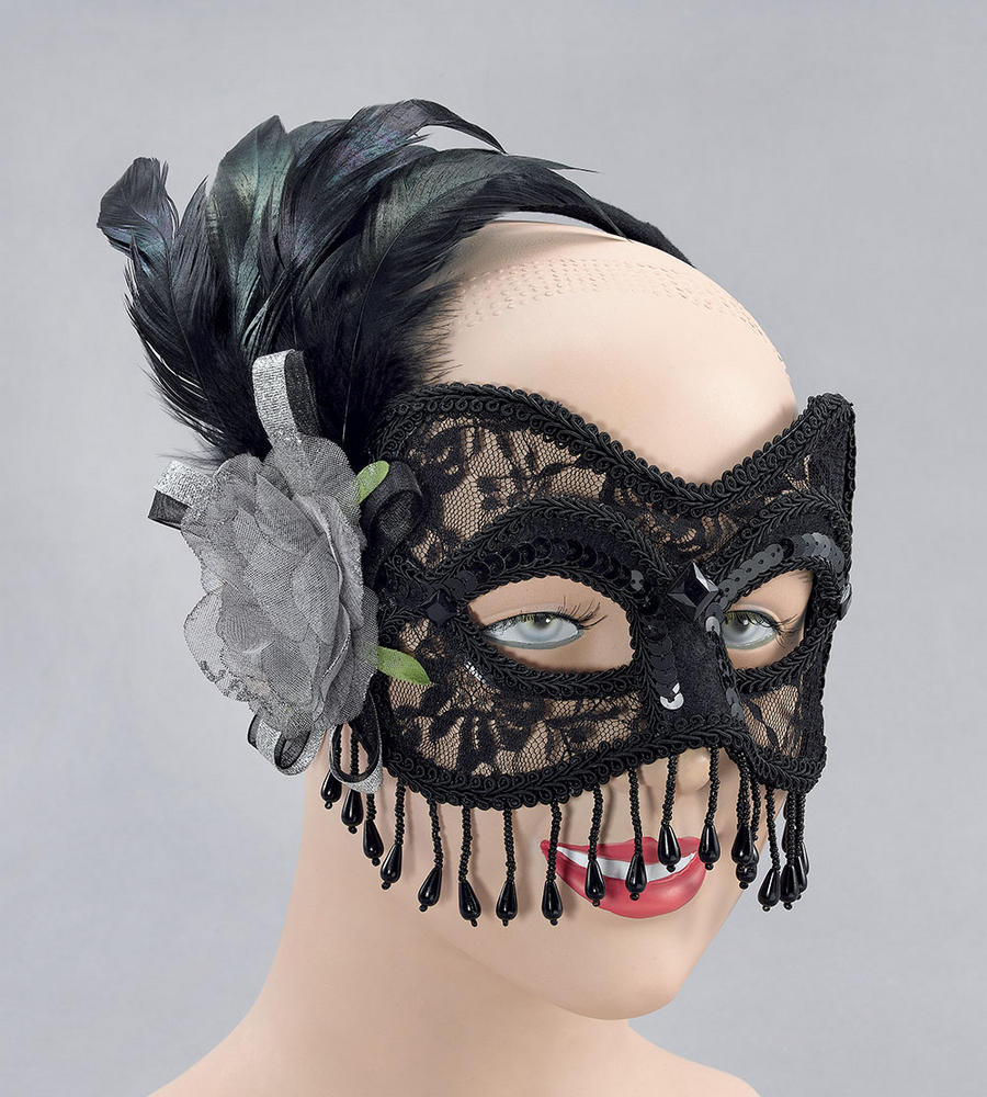 Black Lace Mask & Silver Rose