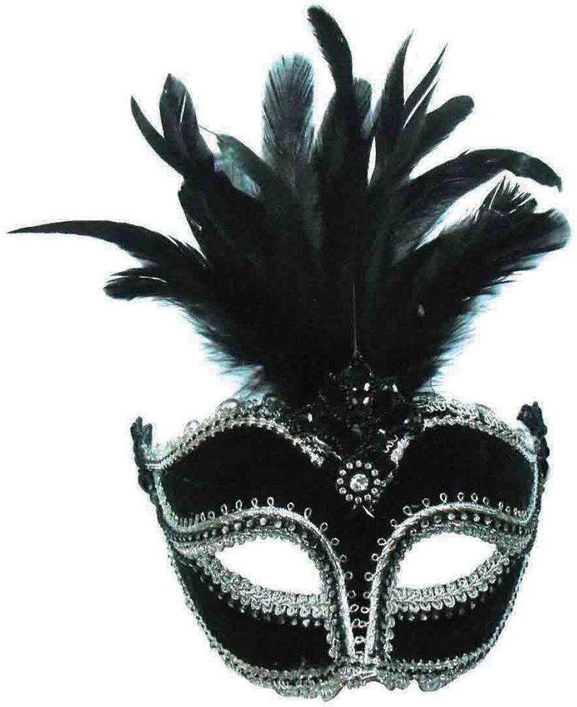Black Velvet Mask / Tall Feather