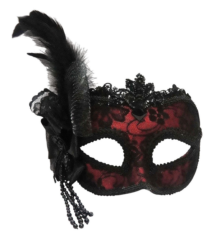 Red/Side Feather mask On Headband