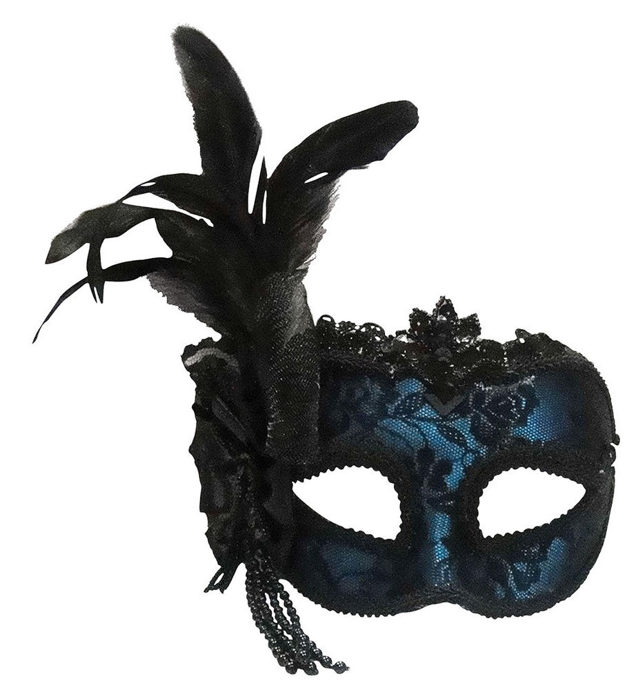 Blue Side Feather Mask On Headband