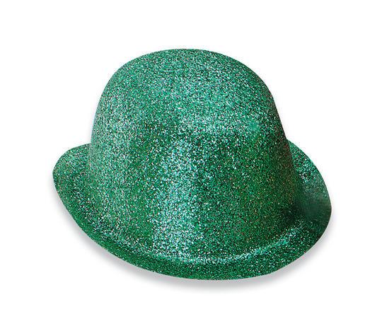 Glitter Green Plastic Bowler Thumbnail 1