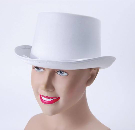Top Hat. White, Satin Look Thumbnail 1