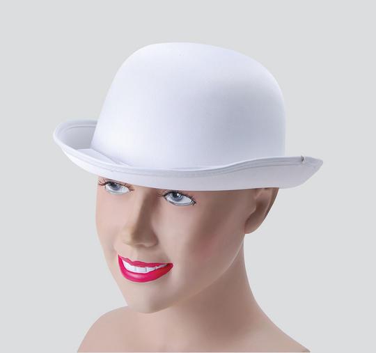Bowler Hat. White, Satin Look Thumbnail 1