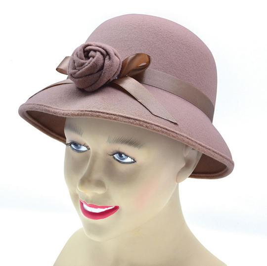 Ladys Hat 1920s Style. Plush Beige Thumbnail 1