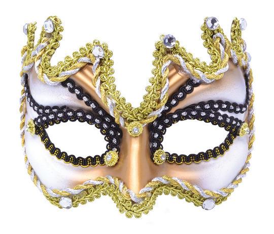Half Face Mask. Black and Gold Thumbnail 1