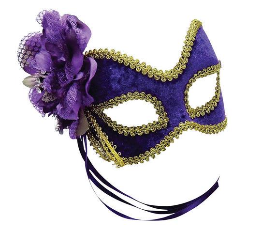 Purple/Gold + Flower Mask Thumbnail 1