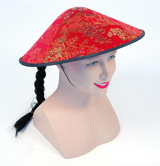 Chinese Coolie Red Fabric Hat + Plait Thumbnail 1