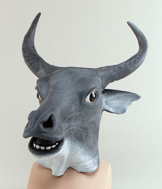 Animal Rubber Ohead Mask. Cow Thumbnail 1