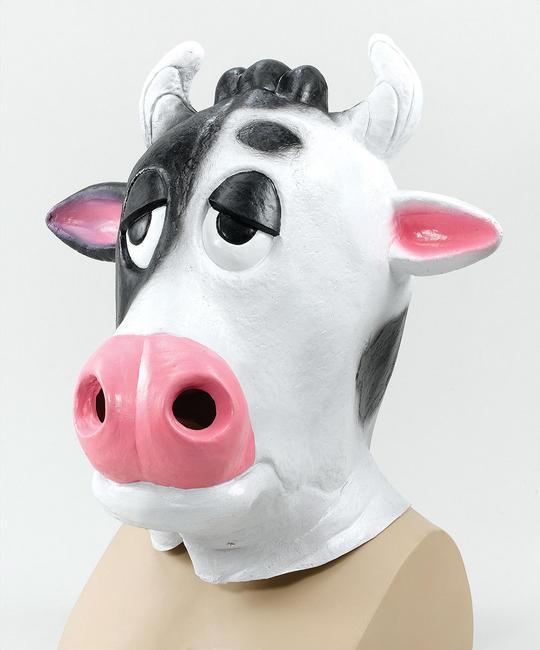 Cow Mask Comical. Black/White Thumbnail 1