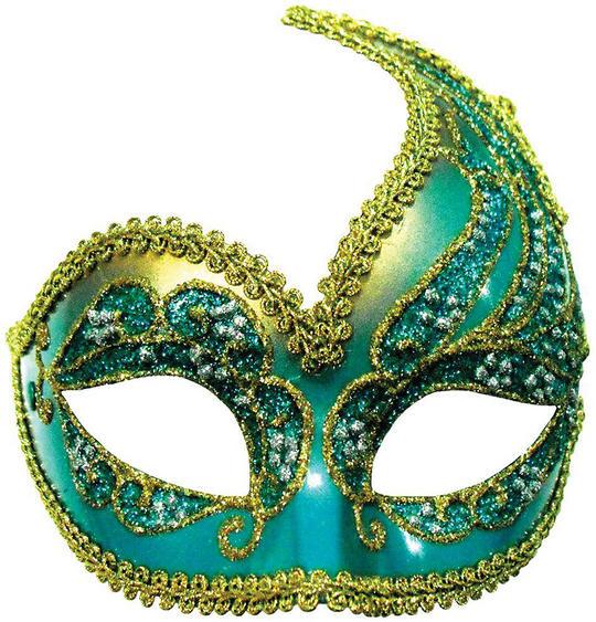 Decorative Half Mask. Turquoise/Gold Thumbnail 1