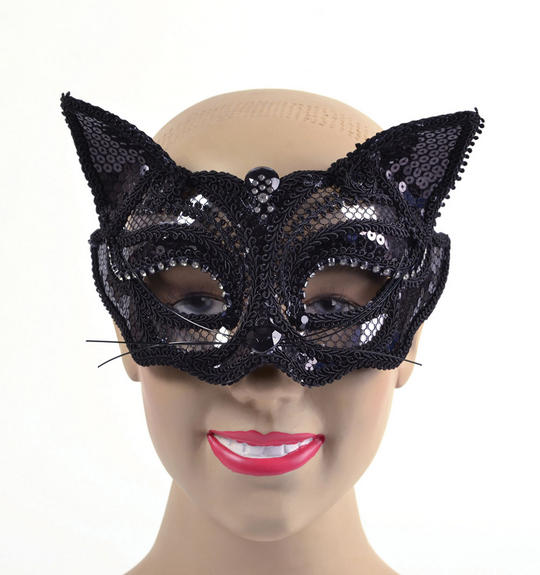Black Cat Sequin. Glass Frame Thumbnail 1