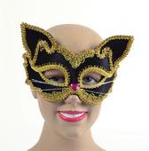 Black/Gold Cat Mask. Glass Frame