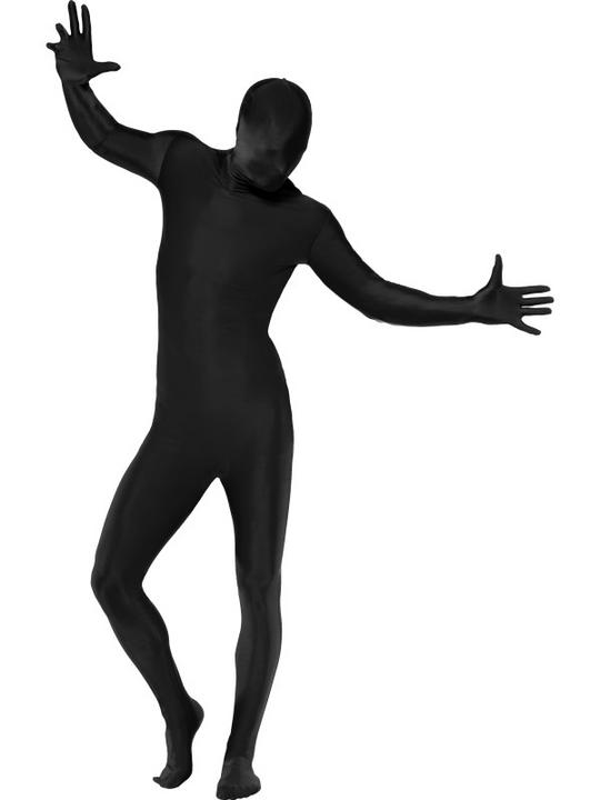 Black Second Skin Suit Fancy Dress Costume Thumbnail 1