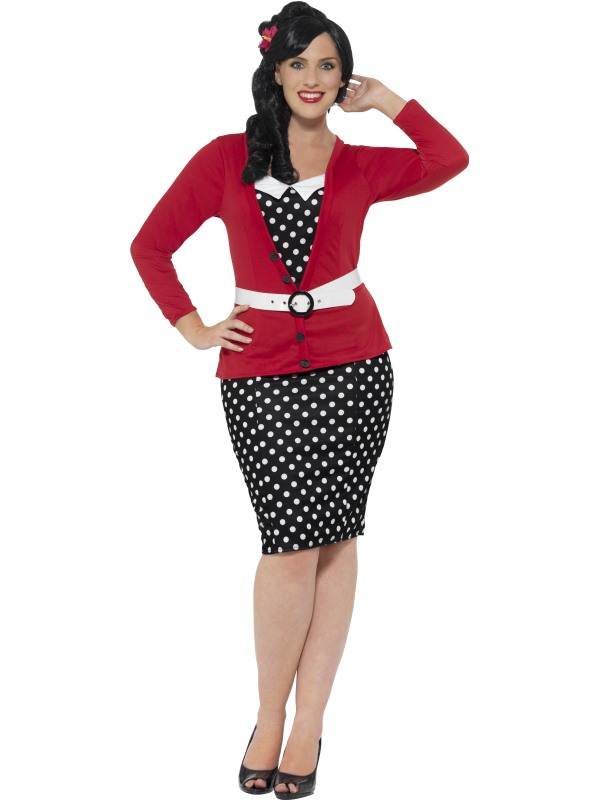 Curves 50's Pin Up Fancy Dress Costume