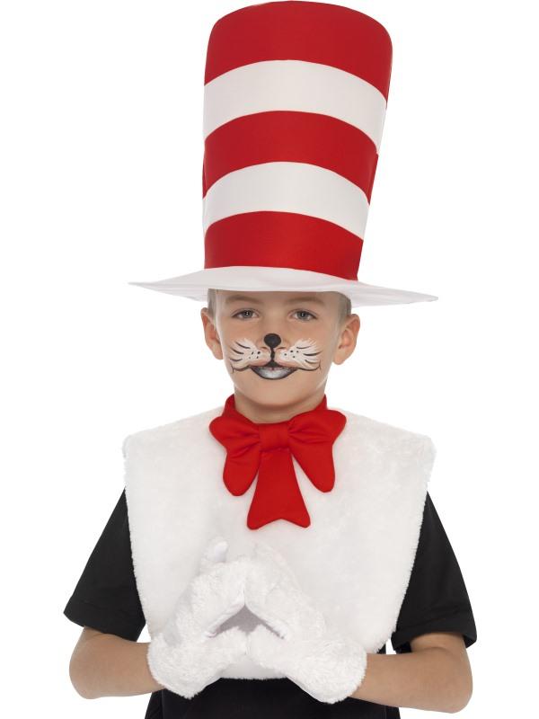 Boys Girls Book Week Cat in the Hat Costume Kit Kids Fancy Dress