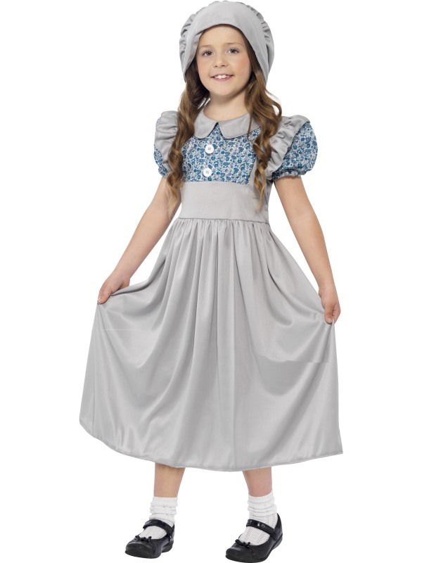 Girls Victorian School Girl Book Week Costume Kids Fancy Dress Outfit