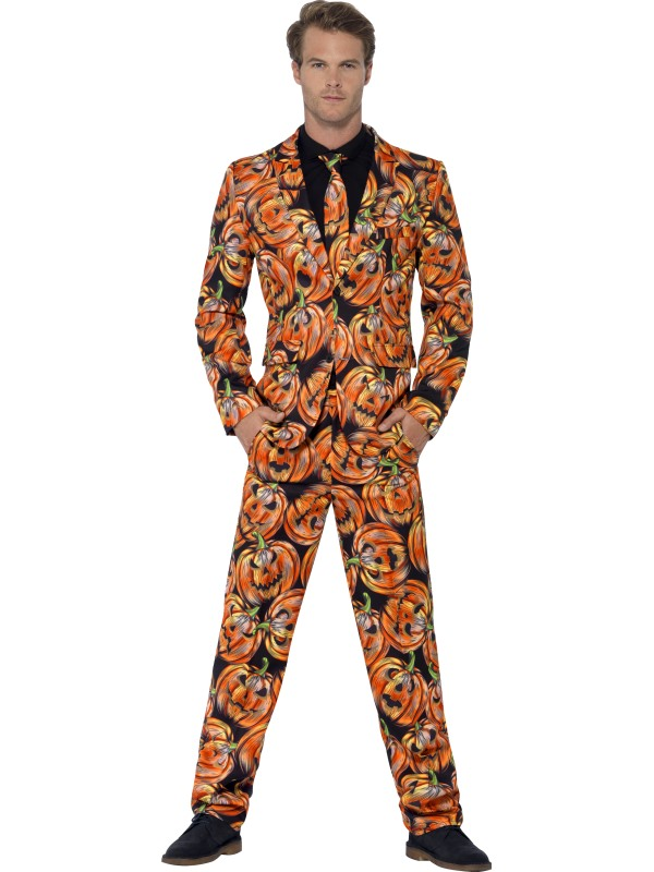 Mens Halloween Pumpkin Suit Gents Fancy Dress Costume Outfit