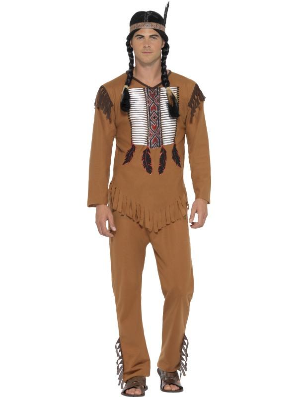 Men's Native Western Warrior Fancy Dress Costume