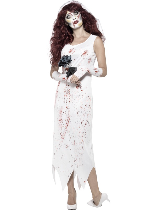 Womens Halloween Zombie Bride Costume Ladies Horror Fancy Dress Outfit