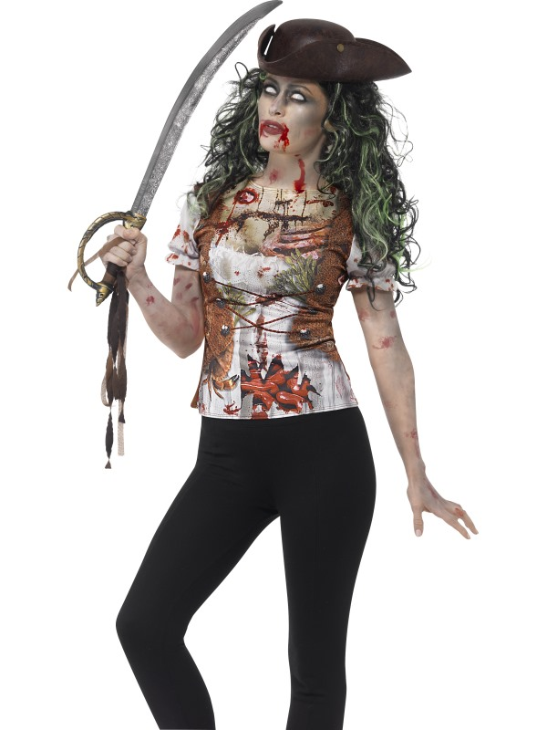 Women's Zombie Pirate Wench T-Shirt Fancy Dress Costume