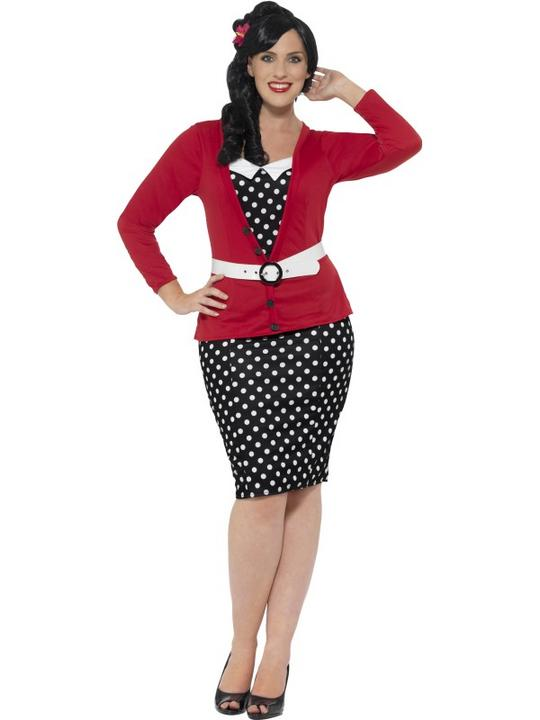Curves 50's Pin Up Fancy Dress Costume Thumbnail 1