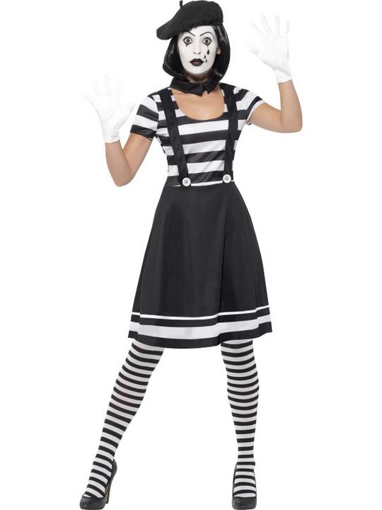 Mime Artist Womens Costume Ladies Fancy Dress Outfit Dressup Thumbnail 1