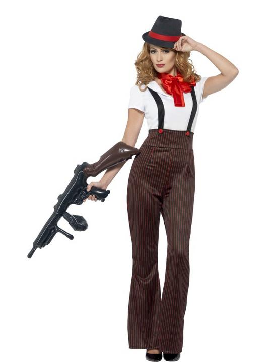 Women's Glam Gangster Fancy Dress Costume Thumbnail 1