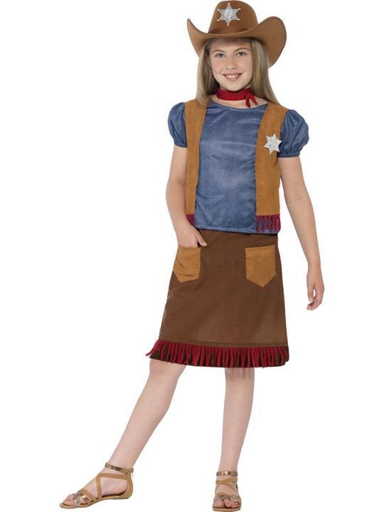Girl's Western Belle Cowgirl Fancy Dress Costume Thumbnail 1