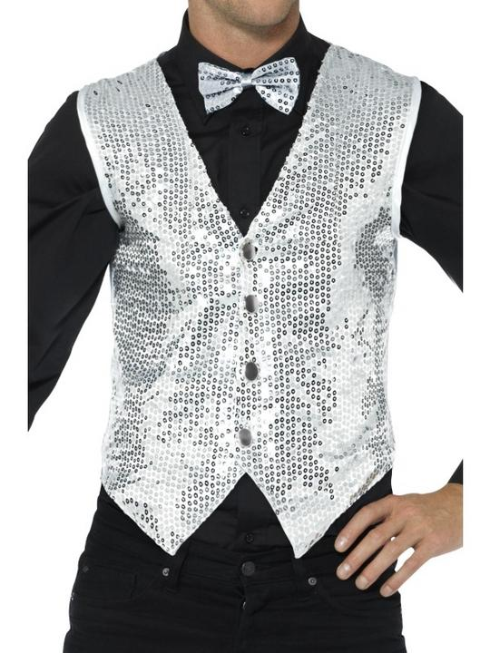 Sequin Waistcoat Silver Men's Fancy Dress Costume Thumbnail 1