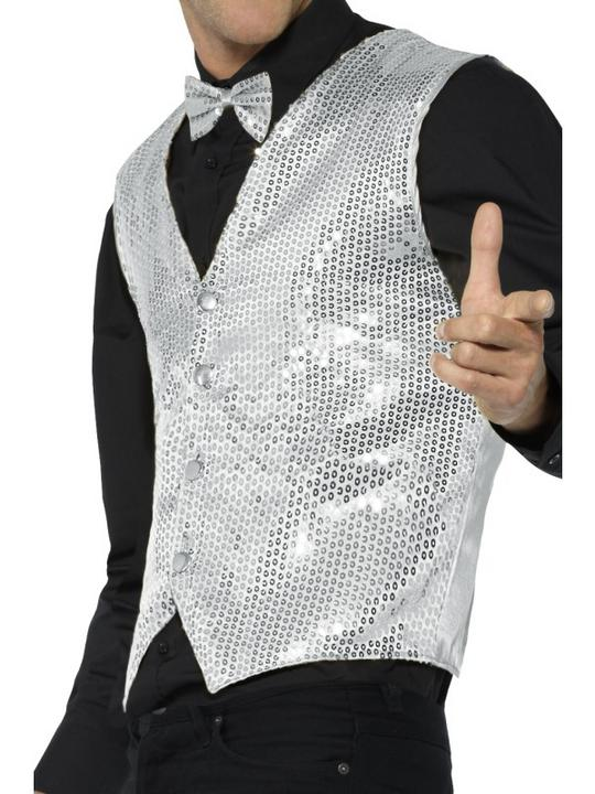 Sequin Waistcoat Silver Men's Fancy Dress Costume Thumbnail 3