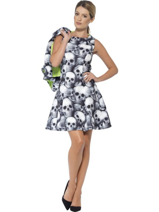 Womens Halloween Skeleton Dress Ladies Fancy Dress Costume Thumbnail 2