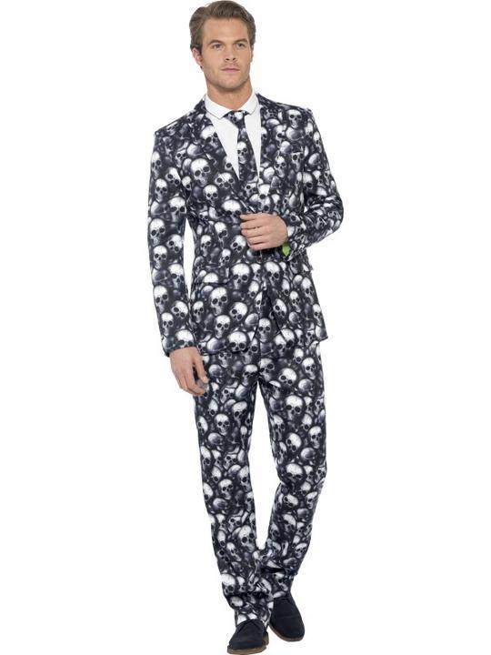SALE Super COOL Skeleton Bones Stand Out Suit Mens Halloween Fancy Dress Costume Thumbnail 1