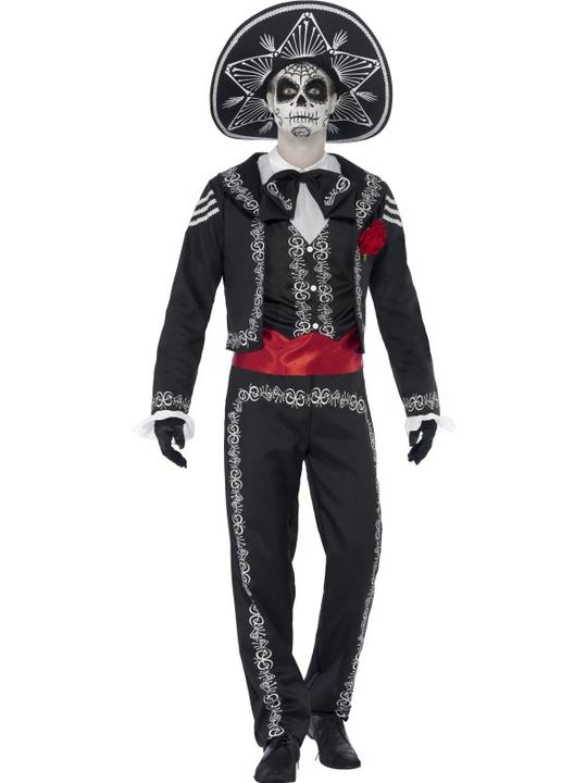 Adult Mexican Day Of The Dead Se±or Bones Mens Halloween Fancy Dress Costume Thumbnail 1