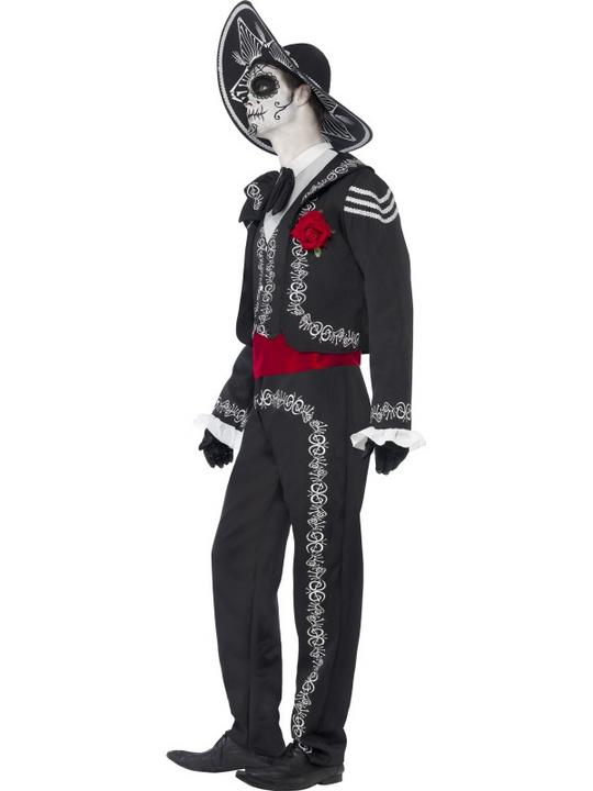 Adult Mexican Day Of The Dead Se±or Bones Mens Halloween Fancy Dress Costume Thumbnail 2