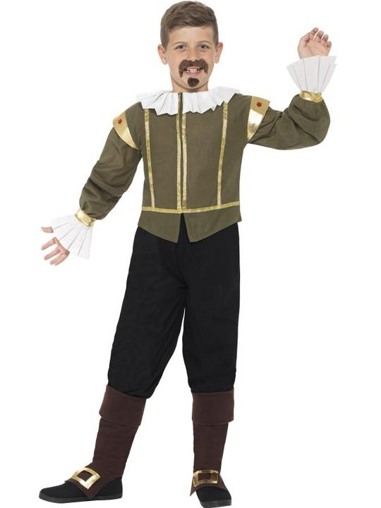 Boys Book Week William Shakespeare Costume Kids Fancy Dress Outfit Thumbnail 1